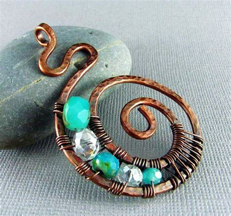 Handmade Jewelry Artists - copper wire jewelry wire wrapped pendant handmade