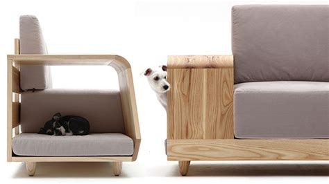 dog friendly couch modern cushioned sofa with dog house attached freshome com