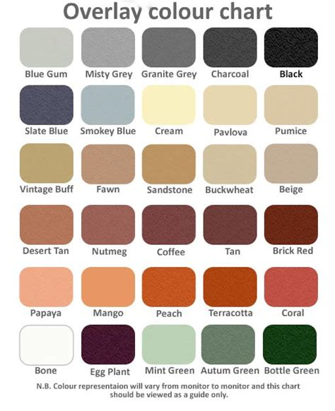 paint colors nz concrete resurfacing and epoxy coating colour charts