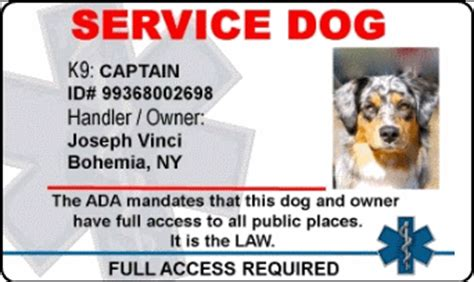 service animal id card template 50 percent all patches