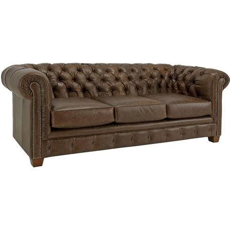 Brown Tufted High Quality Chesterfield Leather Sofa 4 Brown Tufted