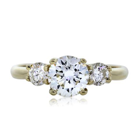 14k yellow gold three engagement ring boca raton