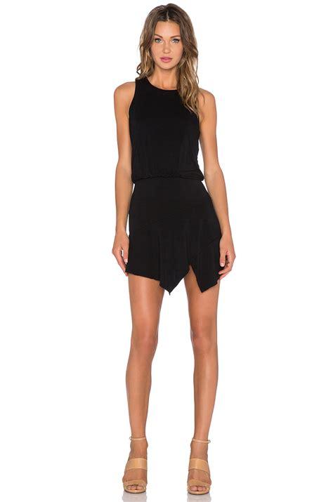 Assymetric Black Dress krisa asymmetrical mini dress in black lyst