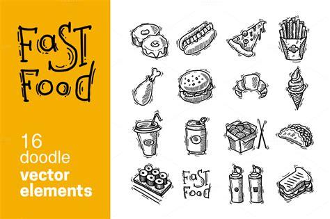 food doodle brushes 16 doodle fast food vector elements illustrations on