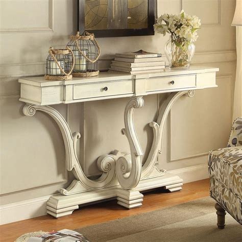 Hallway Console Table Accent Hallway Entryway Sofa Console Table Curved Legs 2 Drawers Antique White Ebay