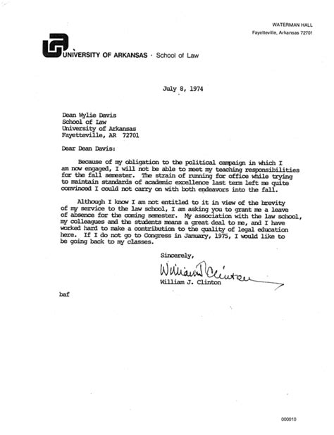 Sle Letter Requesting Leave Of Absence From College Here S Bill Clinton S Personnel File From His Time As An Arkansas College Professor Buzzfeed News