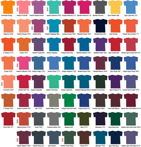 gildan t shirt color chart gildan color chart hunt hankk co