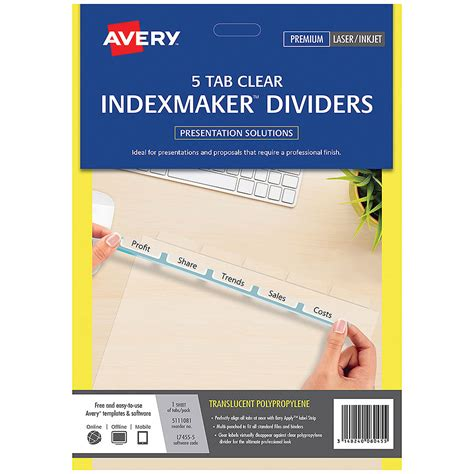 template for avery clear label dividers 5 tab avery indexmaker dividers a4 5 tab cos complete office