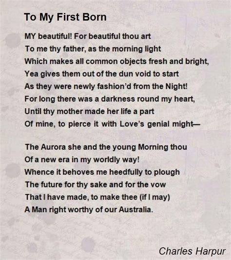 to my poem to my born poem by charles harpur poem