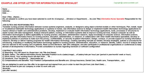 Nursing Informatics Specialist Cover Letter by Informatics Specialist Offer Letter Sle