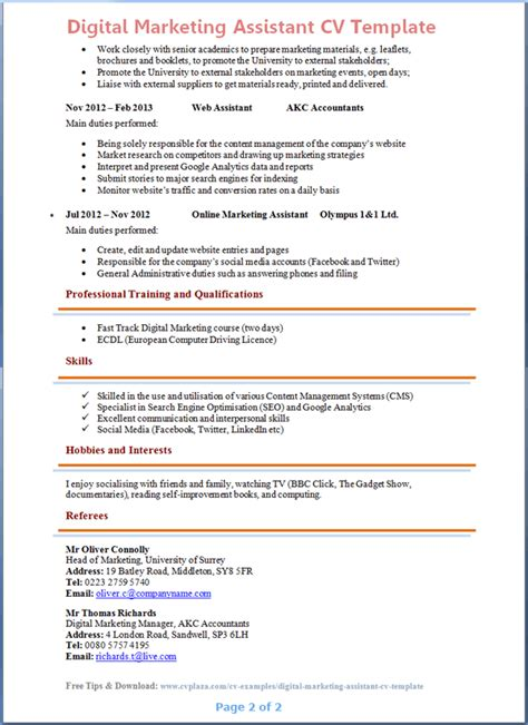 cv marketing template digital marketing assistant cv template preview 2