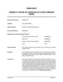 Venture Capital Term Sheet Template by Term Sheet For Series A Of Financing Template