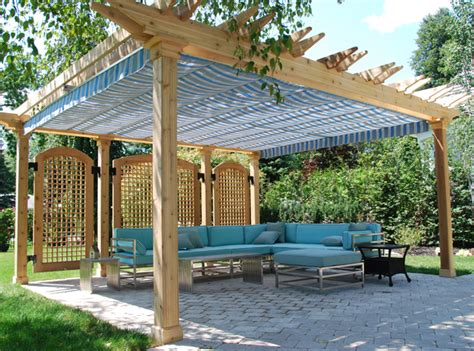 awning options keeping cool on the patio 7 awning and canopy options stone and patio professionals