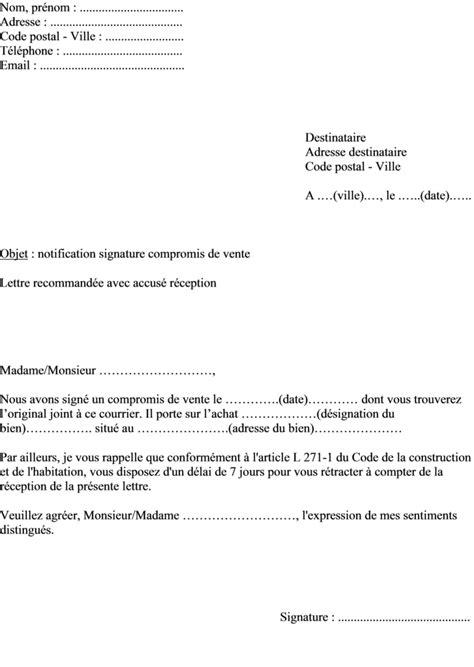 Modèle de lettre notification vendeur du compromis de