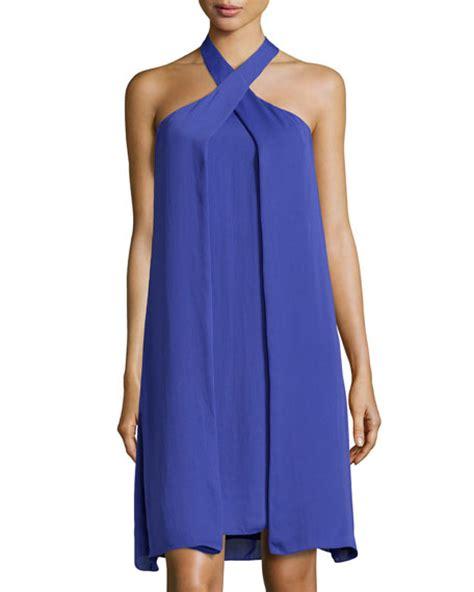 asymmetric drape dress halston heritage asymmetric drape halter dress wisteria