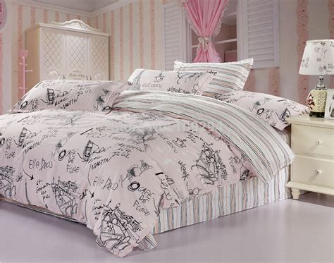 pink bedding sets queen 100 cotton pink gray scrawl 4pcs full queen size bedding