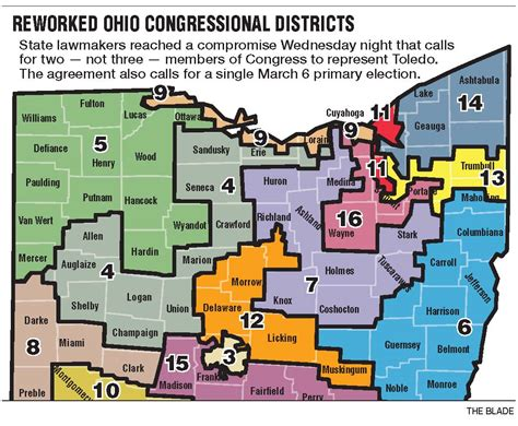 ohio district map redrawn map puts toledo in 2 districts instead of 3 the