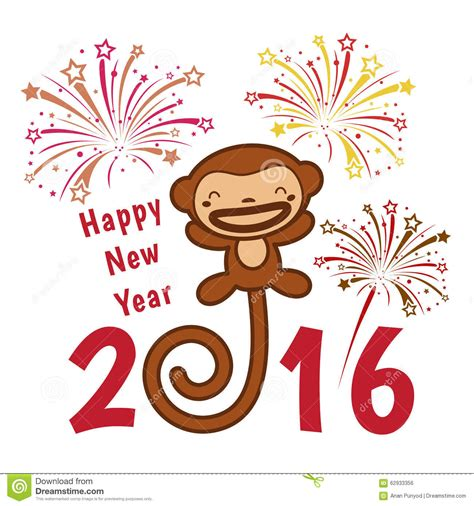 new year monkey for happy new year 2016 card is monkey and firework stock