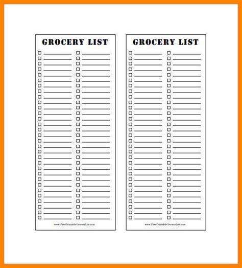 blank grocery shopping list template 6 blank grocery lists dialysis