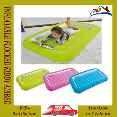 kids childrens inflatable safety flocked kiddy air bed