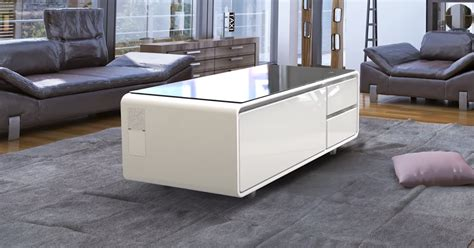 coffee table with refrigerator this futuristic coffee table has bluetooth speakers and a