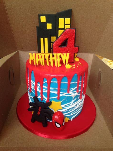 6 inch Spider Man Drip Cake   Cake designs   Pinterest