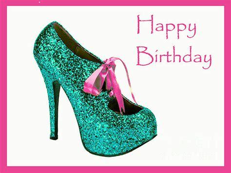 Glitter Birthday Cards Aqua Glitter Birthday Shoe Greeting Card For Sale By