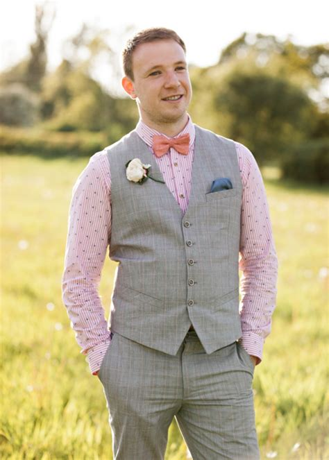 bow tie pink shirt waistcoat groom image by http