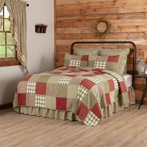 brick red farmhouse bedding cottage path cotton pre washed