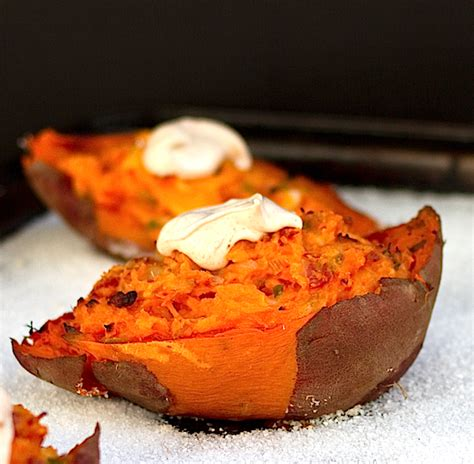 twice baked sweet potatoes with chipotle cream chez us