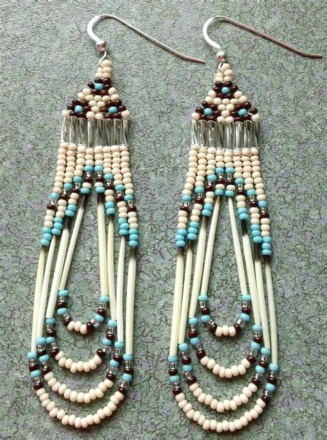 beadwork earrings unique beaded quill earrings jewelry for