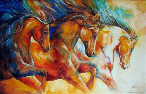 colorful horses colorful painting marciabaldwin