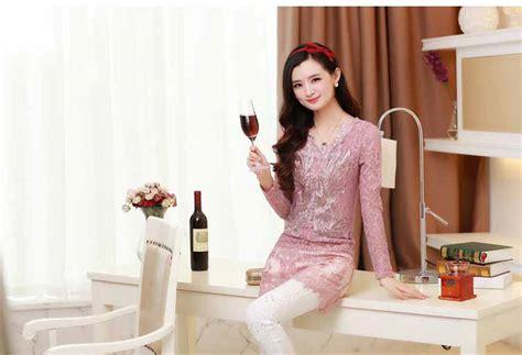 Blouse Import Murah A30717 Pink blouse brokat pink lengan panjang 2016 model terbaru