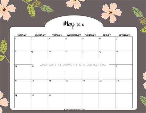 Free Calendars May 2016 Printable Calendar With Flowers Calendar