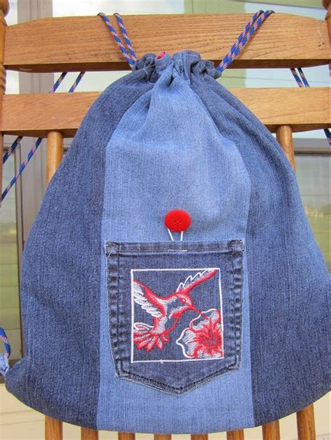 jeans backpack pattern denim backpack made from repurposed jeans