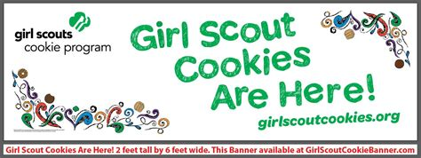 2 x 6 cookies are here banner girl scout cookie banners