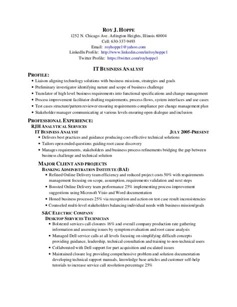 Resume Sle For Business Analyst Roy Hoppe It Business Analyst 3 Images Healthcare Business Analyst Sle Resume Roy Hoppe