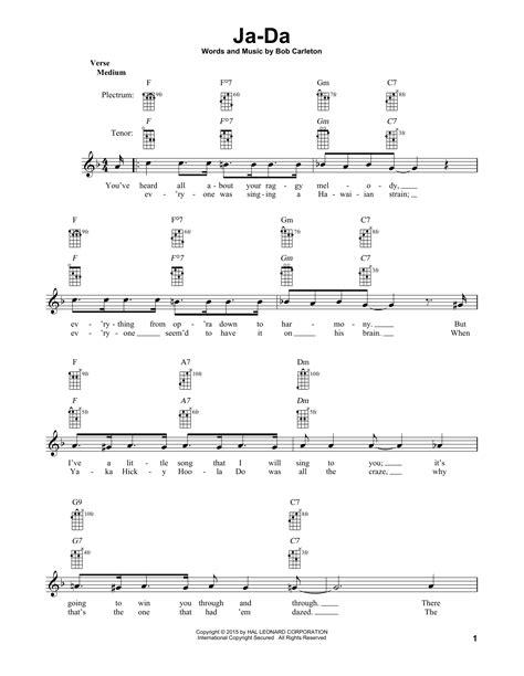 bob carleton ja da ja da ja da jing jing jing ja da sheet by bob carleton banjo 178585