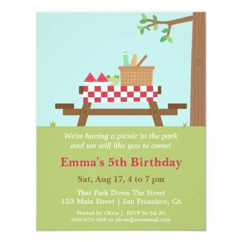 Picnic Invitation Card Template by Picnic In The Park Birthday Invitations Zazzle