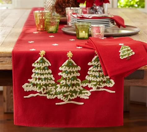 best christmas list items for runners tree crewel embroidered table runner pottery barn