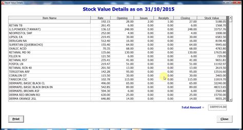 stock valuation report sle about stores vive groups