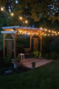 Pergola String Lights pergola and string lights our backyard for the home