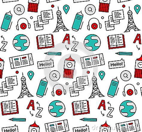 pattern language com language school seamless icons pattern stock vector