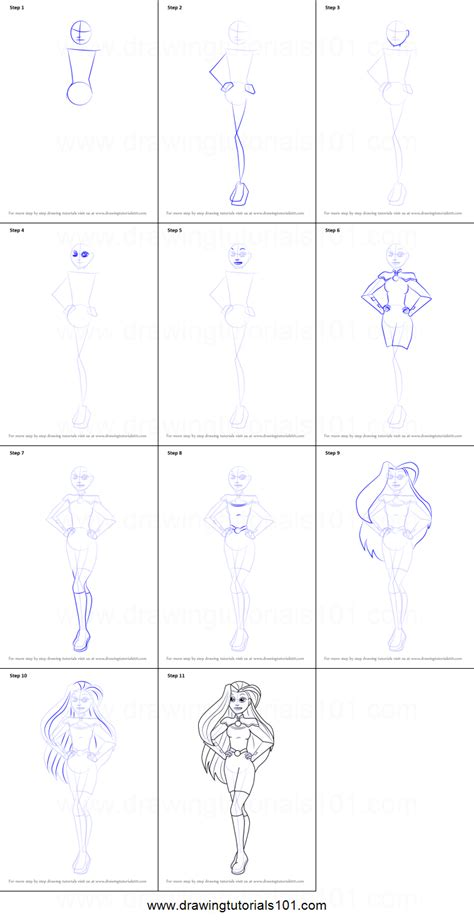 printable heroes tutorial how to draw starfire from dc super hero girls printable