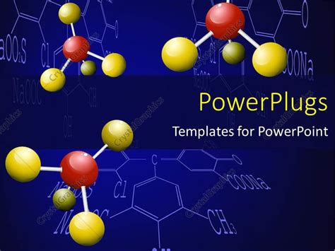Powerpoint Template Three Chemical Molecules With Yellow And Red Colored Nodes 6781 Chemistry Powerpoint Template Free