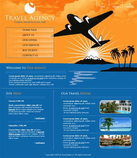 travel agency poster template 21 hotel and travel psd web templates concept dezain