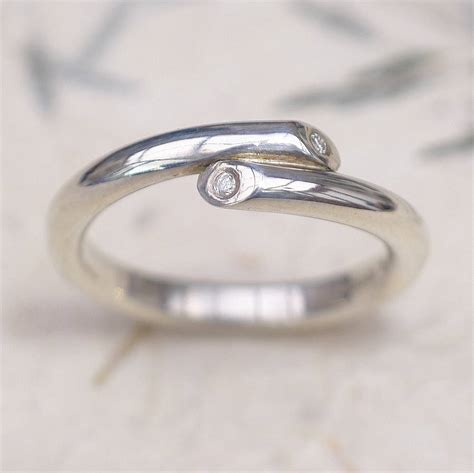 Handcrafted Silver Rings - crossover wedding ring by lilia nash jewellery