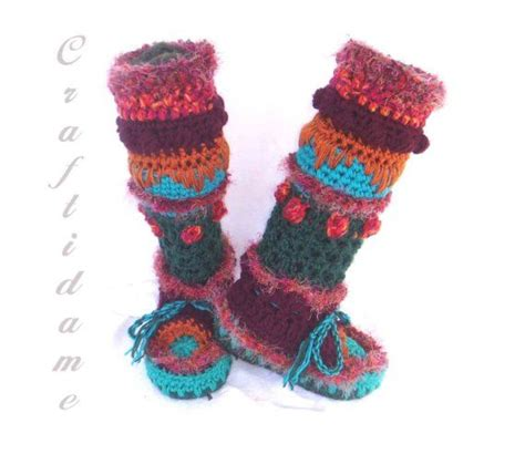 funky house slippers funky crochet womens slipper boots