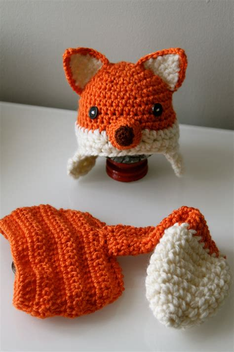 pattern crochet fox crochet baby fox hat with earflaps and diaper by