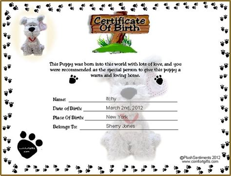 puppy birth certificate template free printable puppy birth certificate template tattoos ideas